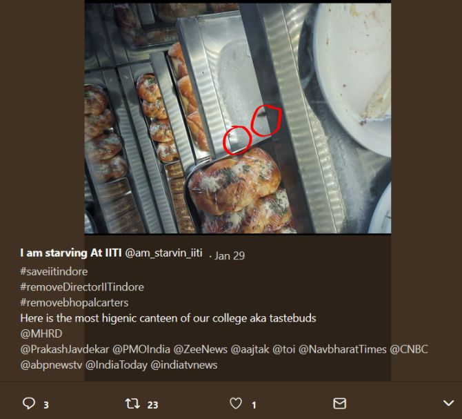 An Indian Institute of Technology Indore student's Facebook post alleges cockroaches spotted inside the cafeteria's food display