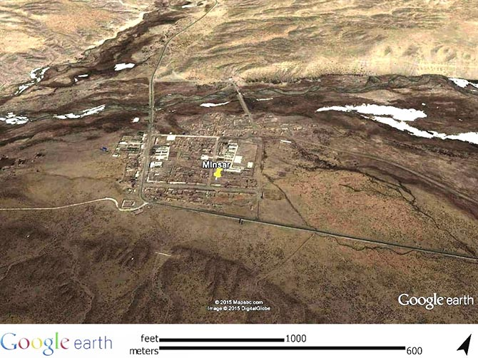 A Google Earth capture of the Indian village of Minsar in Tibet