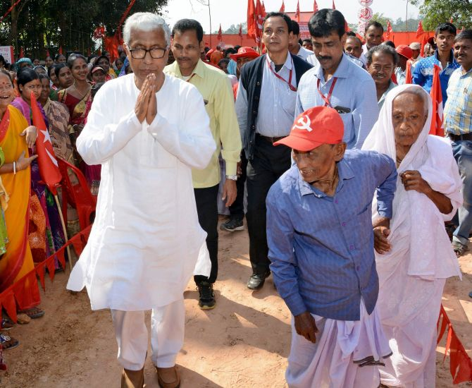Communist Party of India-Marxist leader Manik Sarkar campaigns in Dhanpur, Tripura. Photograph: PTI Photo