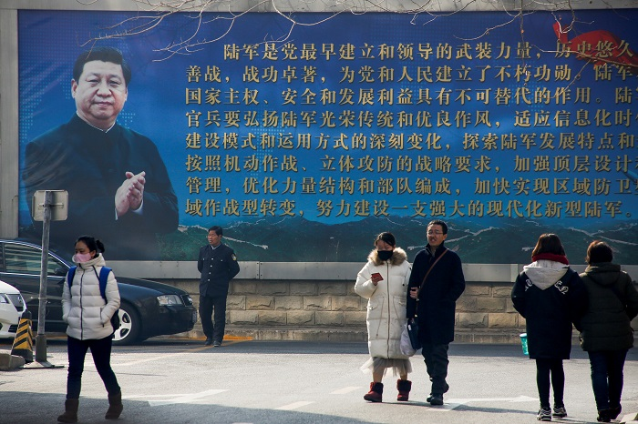 A portrait of Chinese President Xi Jinping in Beijing. Photograph: Thomas Peter/Reuters