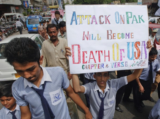 High school students take part in an anti-American demonstration in Karachi, September 28, 2011. Washington accused Pakistan's powerful ISI spy agency of directly backing the Afghan Taliban-allied Haqqani Network and providing support for the September 13, 2011 attack on the US embassy in Kabul. Pakistan furiously rejected the allegations and warned the US that it risked losing an ally if it kept publicly criticising Pakistan. Photograph: Athar Hussain/Reuters