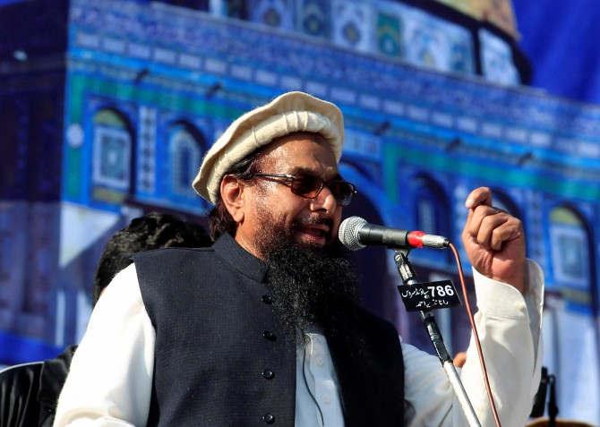 Lashkar-e-Tayiba terrorist Muhammad Saeed addresses a gathering in Rawalpindi, December 29, 2017, to protest against the US decision to recognise Jerusalem as Israel's capital. Photograph: Faisal Mahmood/Reuters