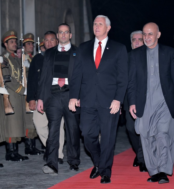 US Vice President Mike Pence, left, inspects an honour guard with Afghanistan President Ashraf Ghani, second from right, and Afghan CEO Dr Abdullah Abdullah, third from right, at the presidential palace in Kabul, December 21, 2017. Photograph: Mandel Ngan/Reuters
