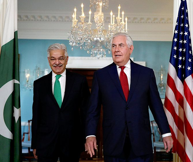 US Secretary of State Rex Tillerson, right, with Pakistan Foreign Minister Khawaja Muhammad Asif at the State Department, Washington, DC, October 4, 2017. Photograph: Yuri Gripas/Reuters
