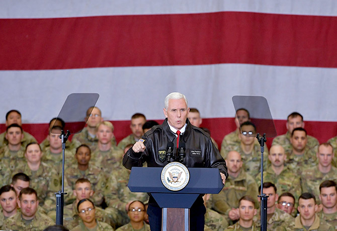 US Vice President Mike Pence speaks to American troops in a hangar at Bagram air field, Afghanistan, December 21, 2017. Photograph: Mandel Nga/Pool/Reuters