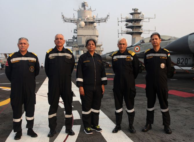 Defence Minister Nirmala Sitharaman with Naval officers on INS Vikramaditya