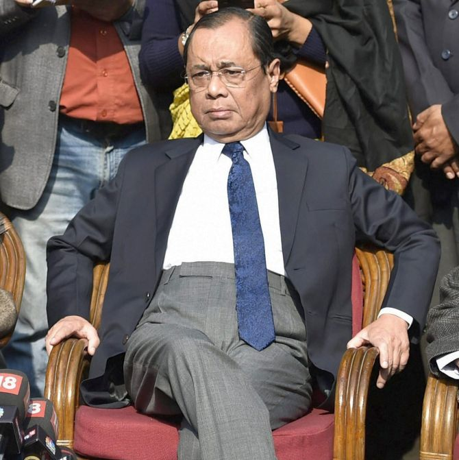 Supreme Court Justice Ranjan Gogoi at the January 12, 2018 press conference. Photograph: Ravi Choudhary/PTI Photo