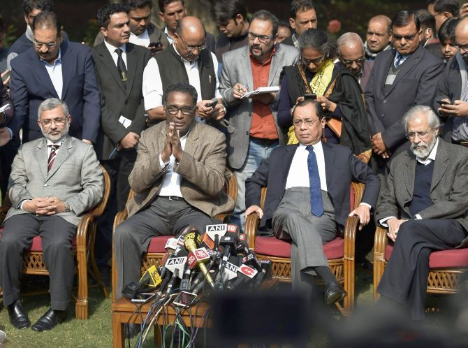 Supreme Court Justices Kurien Joseph, Jasti Chelameswar, Ranjan Gogoi and Madan B Lokur at their press conference in New Delhi, January 12, 2018. Photograph: PTI