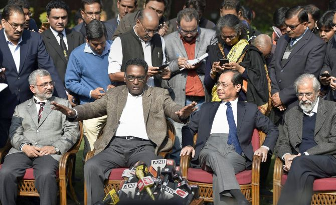 Supreme Court Justice Jasti Chelameswar makes a point as his brother judges  Justice Kurian Joseph to his right and Justices Ranjan Gogoi and Madan Lokur to his left at the press conference in New Delhi, January 12, 2018. Photograph: Ravi Choudhary/PTI Photo