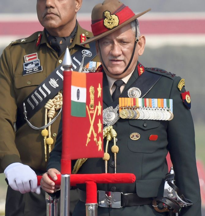 Army Chief General Bipin Rawat inspects the guard of honour during the Army Day parade in New Delhi, January 15, 2018. Photograph: Kamal Singh/PTI Photo