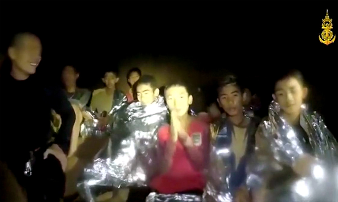 Video released by the Thai Navy SEALs before the rescue showed the boys wrapped in foil blankets for warmth, as they speak up one by one, introducing themselves and saying 'I am healthy.' Photograph: Thai Navy Seals/Reuters