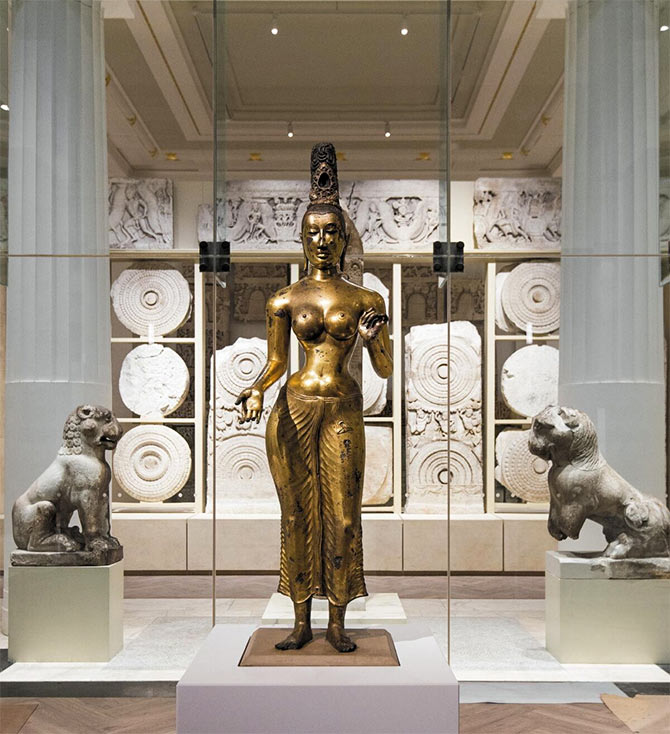 The Sir Joseph Hotung Gallery or Room 33 at the British Museum that has on display a collection of striking artefacts, from India, China and South Asia. The Amravati Marbles are visible in the background. Photograph: With kind permission courtesy British Museum.