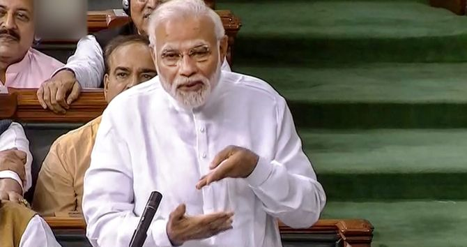 Prime Minister Narendra Damodardas Modi during his 90 minute reply to the no confidence motion.