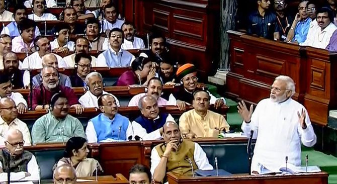 Prime Minister Narendra Damodardas Modi speaks during the debate on the no-confidence motion against his government in the Lok Sabha, July 20, 2018.