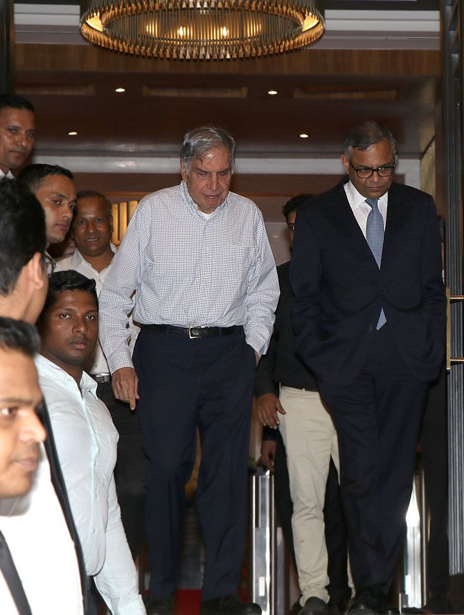 Natarajan Chandrasekaran, chairman of the Tata group, right, and Ratan Tata, emeritus chairman, at the opening of the newly refurbished Bombay House at Fort, south Mumbai, July 29, 2018. Photograph: Hitesh Harisinghani/Rediff.com