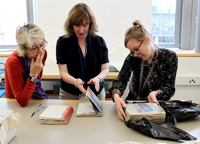 The British Library, who received Ruth Prawer Jhabvala's archives, unwrapping some of her manuscripts that have never been opened since they were stitched into parcels 40 years ago. Photograph: Kind courtesy @BritishLibrary/Twitter