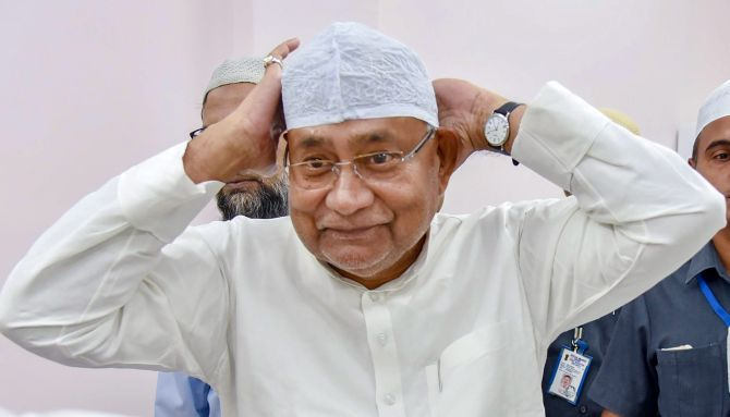 Bihar Chief Minister Nitish Kumar at an iftar in Patna, June 5, 2018. Photograph: PTI Photo