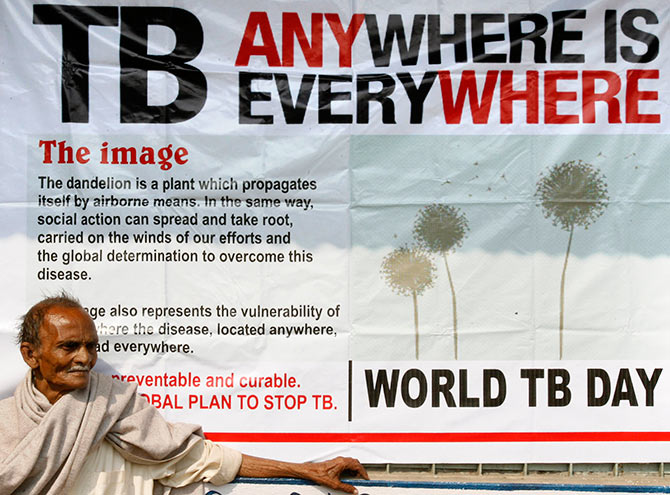 Jotindra Singh, 65, suffering from Tuberculosis (TB) waits for his free treatment outside a medical centre in Siliguri, West Bengal. Photograph: Rupak De Chowdhuri/Reuters