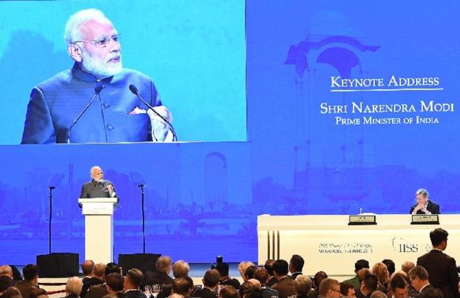 Prime Minister Narendra D Modi delivers the keynote address at the Shangri-La Dialogue,in Singapore, June 1, 2018. Photograph: Press Information Bureau