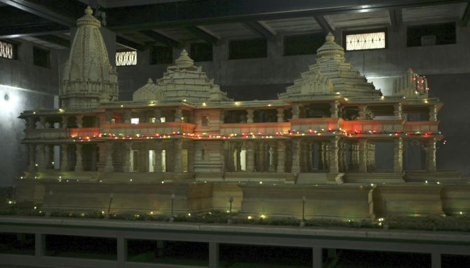 The model of the proposed Ram temple in Ayodhya. Photograph: Mukesh Gupta/Reuters