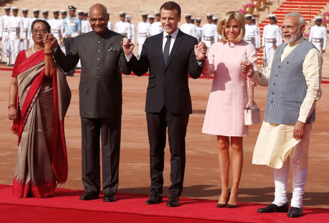 French President Emmanuel Macron and his wife Brigitte Marie-Claude Macron at the ceremonial welcome at Rashtrapati Bhavan, March 10, 2018. The French leader and the first lady are flanked by President Ram Nath Kovind, First Lady Savita Kovind and Prime Minister Narendra D Modi. Photograph: Adnan Abidi/Reuters