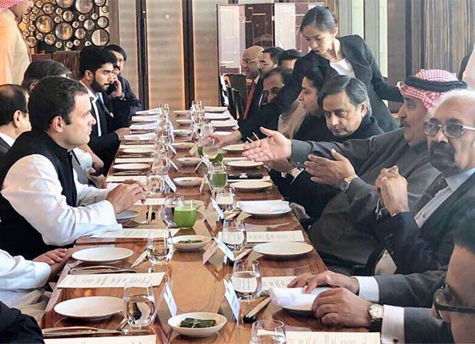 Rahul Gandhi on his first foreign visit after he was elected Congress president, with Shaikh Khalid bin Ahmed bin Mohammed Al Khalifa, Bahrain's minister of foreign affairs, who hosted a lunch for him. Photograph: Kind courtesy Rahul Gandhi/Twitter