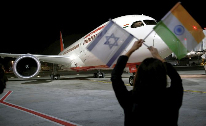 Air India's Boeing 787-8 Dreamliner lands at Ben Gurion airport, Tel Aviv. Photograph: Amir Cohen/Reuters