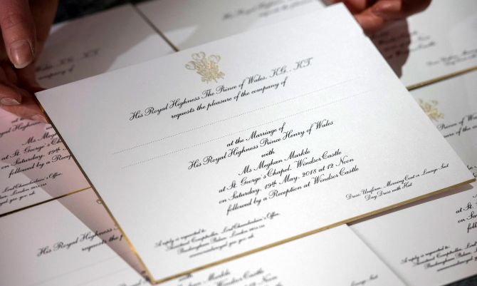 Prince Harry and Meghan Markle's wedding invitation