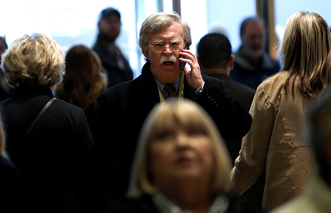 John Bolton arrives for a meeting with then US President-elect Donald J Trump at Trump Tower in New York, December 2, 2016. Photograph: Mike Segar/Reuters