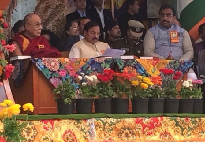 Culture Minister Mahesh Sharma and Bharatiya Janata Party General Secretary Ram Madhav attended the 'Thank You India' event in Dharamshala, March 31, 2018, organised to mark 60 years of The Dalai Lama's exile. Photograph: ANI/Twitter