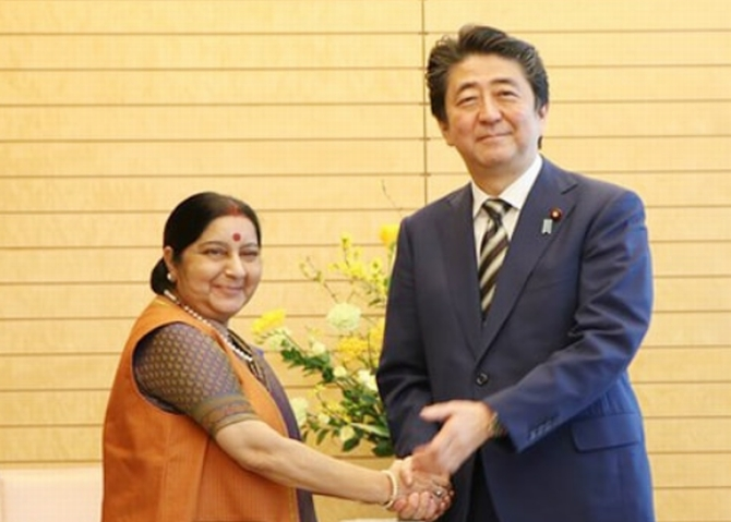 External Affairs Minister Sushma Swaraj met Japan's Prime Minister Shinzo Abe at his home in Tokyo, March 30, 2018. Photograph: Ministry of External Affairs