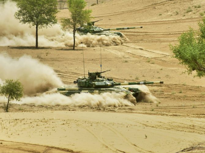 The Indian Army's Jaipur-based South Western Command conducted drills to fight in all contingencies including a nuclear weapon environment in Rajasthan's Mahajan field firing ranges during the Vijay Prahar exercise from May 1 to 9, 2018. Photograph: PTI Photo