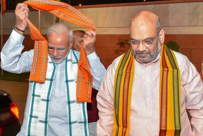 Prime Minister Narendra Damodardas Modi and Home Minister Amit Shah. Photograph: Kamal Kishore/PTI