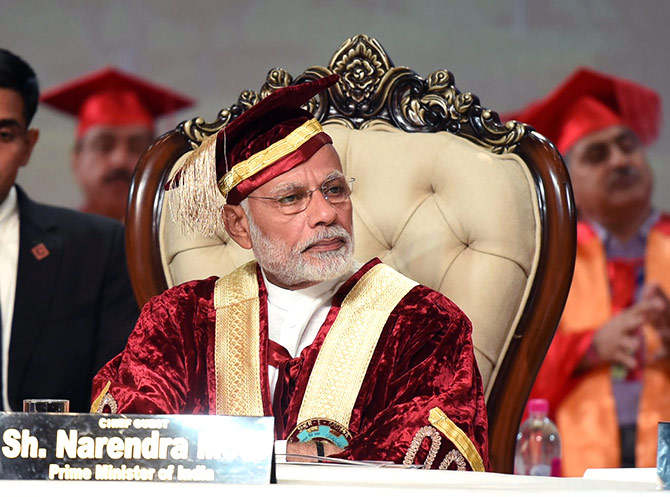 Prime Minister Narendra D Modi at the convocation of the Sher-E-Kashmir University of Agricultural Sciences and Technology, Jammum, May 19, 2018. Photograph: Press Information Bureau