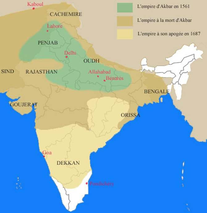 Mughal empire under Akbar (dark yellow)