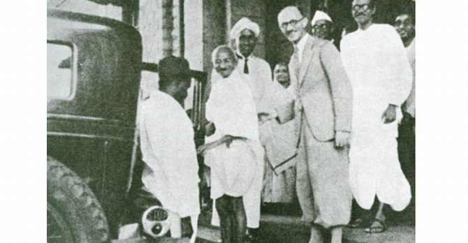 Mahatma Gandhi at the department of electrical technology, with Sir C V Raman, Kasturba Gandhi, Kenneth Aston, head of the department, and Mahadev Desai, Gandhi's personal secretary. Gandhi visited the Institute twice, in 1927 and in 1936.