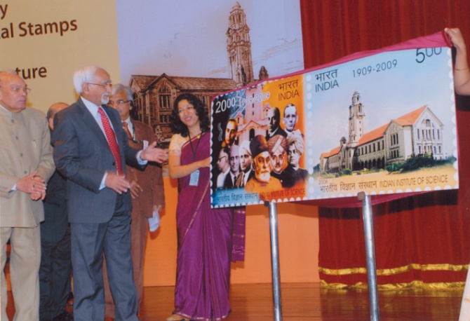 To celebrate 100 years of the Indian Institute of Science, then vice-president Mohammad Hamid Ansari released commemorative stamps