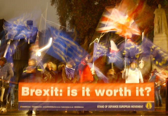 Anti-Brexit demonstrators protest outside the Houses of Parliament in London, November 19, 2018. Photograph: Henry Nicholls/Reuters