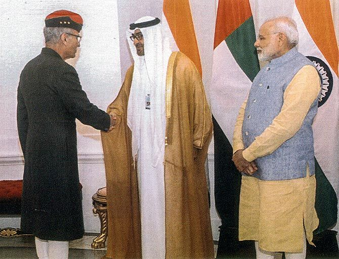 General Shah with the crown prince of Abu Dhabi, Prince Mohammed bin Zayed Al Nahyan, and Prime Minister Narendra Damodardas Modi. Photograph: Kind courtesy, Lieutenant General Shah's memoir, The Sarkari Mussalman