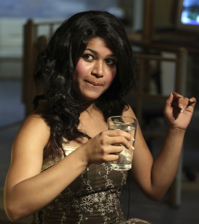 Nihita Biswas, who got engaged to Charles Sobhraj, meets the media in Kathmandu, July 5, 2008.