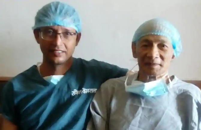 Dr Raamesh Koirala shared this image of Charles Sobhraj moments before they went into the operation theatre