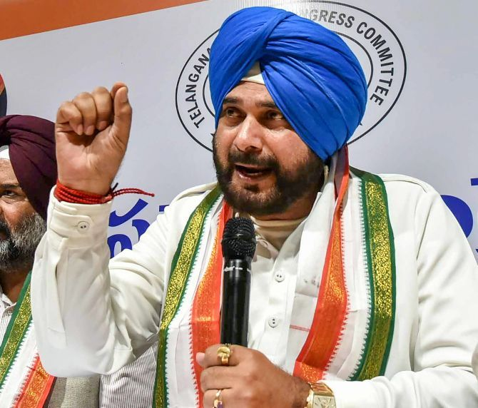 Navjot Singh Sidhu at the Gandhi Bhavan in Hyderabad during the Telangana assembly election campaign. Photograph: PTI Photo