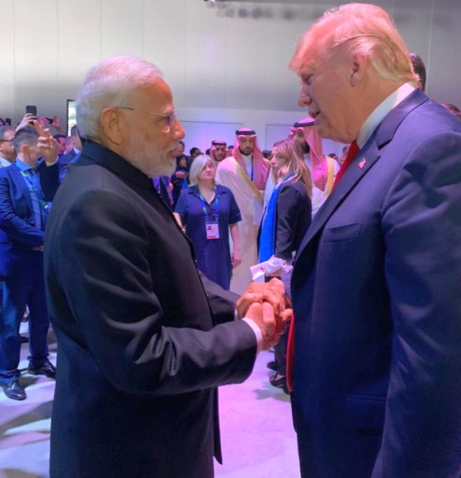 Prime Minister Narendra Damodardas Modi with United States President Donald John Trump at the G-20 summit in Buenos Aires, November 30, 2018. Photograph: @MEAIndia/Twitter