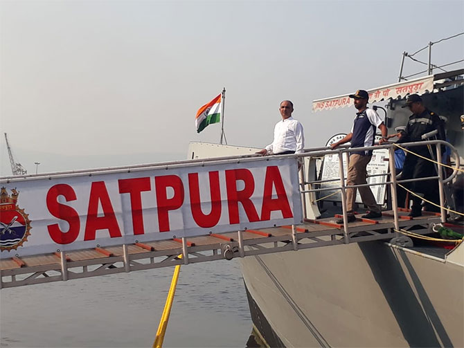Commander Tomy disembarks from INS Satpura