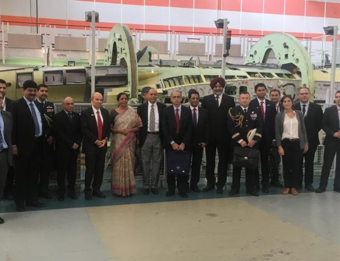 Defence Minister Nirmala Sitharaman visited the Dassault Aviation plant in Argenteuil, France, where the Rafale jets to be supplied to India are being manufactured, October 13, 2018. On the minister's right is Dassault CEO Éric Trappier. Photograph: ANI
