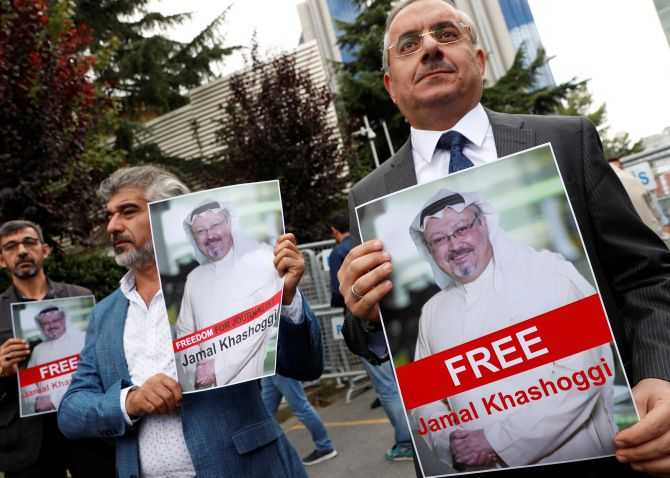 A protest outside the Saudi consulate in Istanbul where journalist Jamal Khashoggi was brutally murdered by Saudi agents. Photograph: Murad Sezer/Reuters