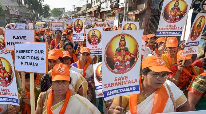 Ayyappa devotees protest against the Supreme Court order allowing the entry of women into the Sabarimala temple in Ahmedabad, October 14, 2018. Photograph: Santosh Hirlekar/PTI Photo
