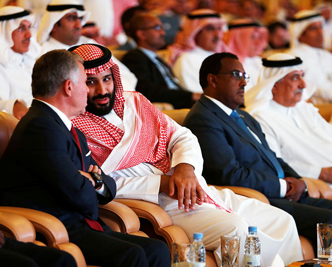 Saudi Crown Prince Mohammed bin Salman speaks to Jordan's King Abdullah II ibn Al Hussein at the investment conference in Riyadh, October 23, 2018. Photograph: Faisal Al Nasser/Reuters