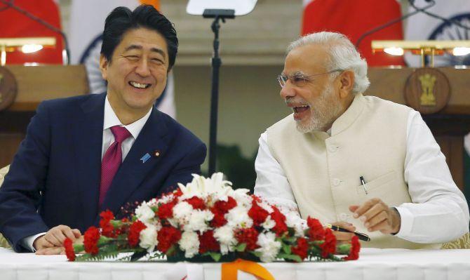 Prime Minister Narendra Damodardas Modi with Abe Shinzo