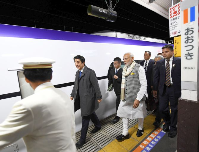 After spending eight hours in Yamanashi, Modi and Abe rode an express train to travel to Tokyo. Photograph: Press Information Bureau